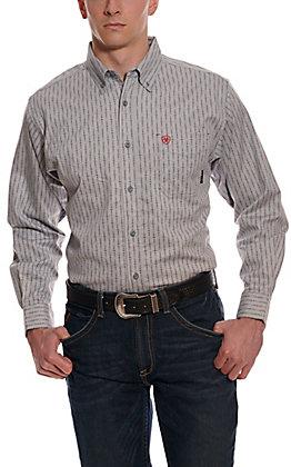Ariat Men's Quartz Grey with Print Long Sleeve FR Work Shirt