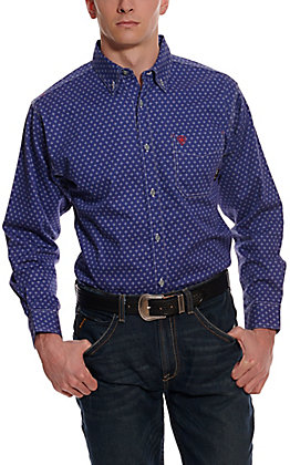Ariat Men's Denali Blue with White Diamond Print Long Sleeve FR Work Shirt