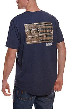 Ariat Men's Rebar Navy Heather Workman Technician Graphic Short Sleeve Work T-Shirt