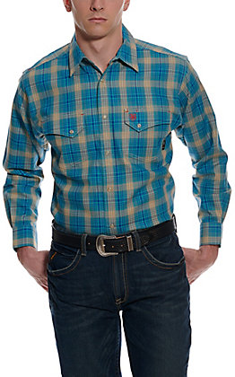 Ariat Men's Sanders Ceramic Tan and Blue Plaid Long Sleeve FR Work Shirt