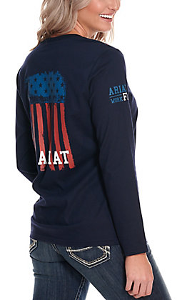 Ariat Women's Navy Americana Flag Graphic FR T-Shirt