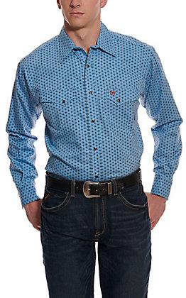 Ariat Men's Tungsten Blue with Diamond Print Long Sleeve FR Work Shirt