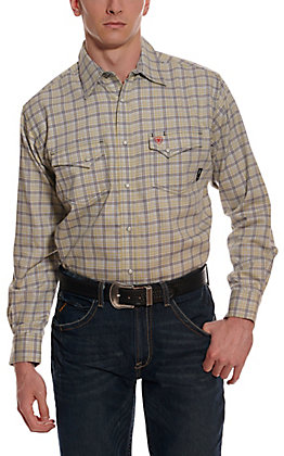 Ariat Men's Whetstone Harbor Mist Grey Plaid Long Sleeve FR Work Shirt