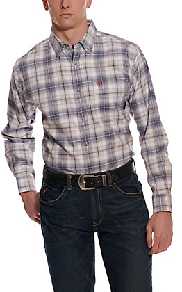 Ariat Men's Foraker White & Navy Plaid Long Sleeve FR Work Shirt