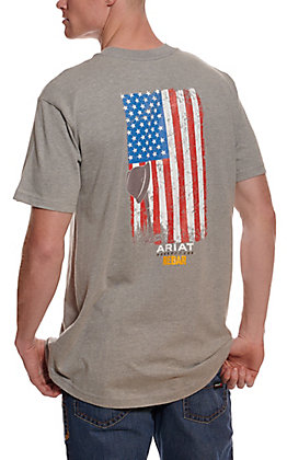 Ariat Men's Rebar Cotton Strong Heather Grey American Grit Flag Short Sleeve Pocket Work T-Shirt
