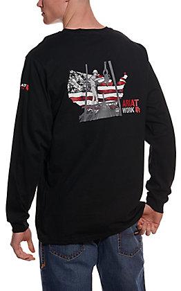 Ariat Men's Black Heartland Flag Graphic Long Sleeve FR Work T-Shirt