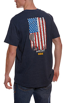 Ariat Men's Rebar Cotton Strong Heather Navy American Grit Flag Short Sleeve Pocket Work T-Shirt
