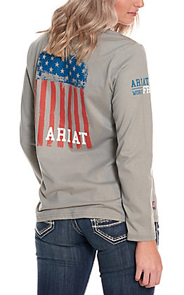 Ariat Women's Silver Fox Americana Flag Graphic FR Work T-Shirt