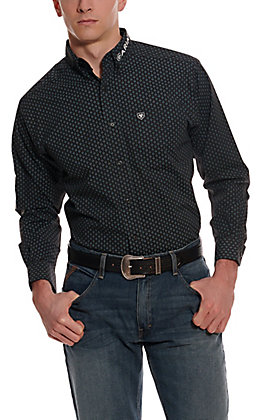 Ariat Men's Bradley Team Logo Black with Blue Medallion Print Long Sleeve Western Shirt