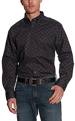 Ariat Men's Fanton Grey with Black Multi Medallion Print Long Sleeve Stretch Western Shirt