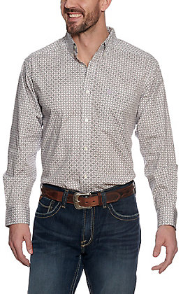 Ariat Men's Ferndale White with Purple and Grey Geo Print Stretch Long Sleeve Western Shirt