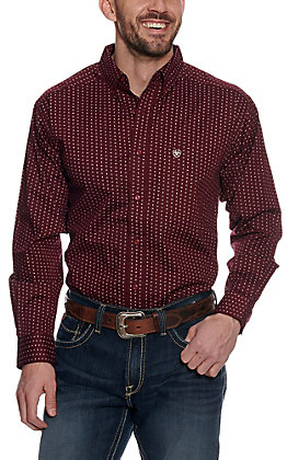 Ariat Men's Frostburg Berry Bark with White Print Long Sleeve Stretch Western Shirt