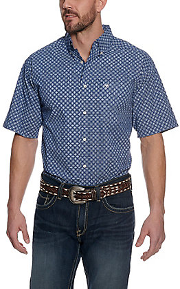 Ariat Men's Gladview Blue with White Diamond Print Stretch Short Sleeve Western Shirt