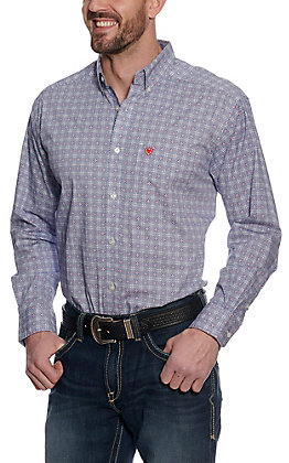 Ariat Men's Guilford White with Blue & Red Medallion Print Long Sleeve Western Shirt