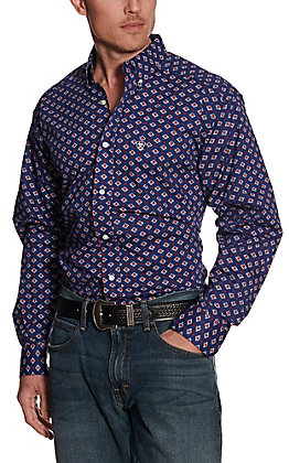 Ariat Men's Glenvar Twilight Blue with Red Aztec Print Long Sleeve Stretch Western Shirt