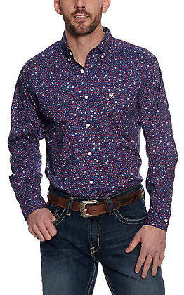 Ariat Men's Guilford Blue with Red and White Paisley Print Long Sleeve Western Shirt