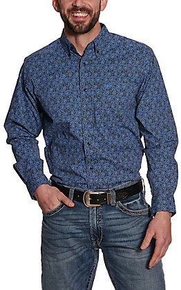 Ariat Men's Hanson Grey and Blue Paisley Long Sleeve Stretch Fitted Western Shirt