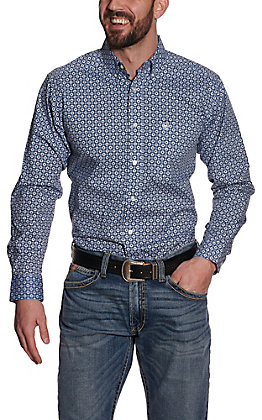 Ariat Men's Holden Blue Flower Print Long Sleeve Stretch Fitted Western Shirt
