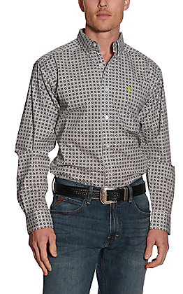 Ariat Men's Hully White and Black Medallion Print Long Sleeve Stretch Western Shirt