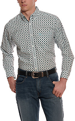 Ariat Men's Kaleb White with Aztec Print Long Sleeve Stretch Western Shirt