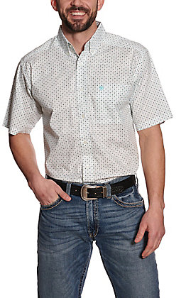 Ariat Men's Kellton White with Turquoise and Black Geo Print Short Sleeve Stretch Western Shirt