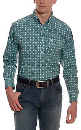 Ariat Men's Kerrington Turquoise with Black Geo Print Long Sleeve Stretch Western Shirt
