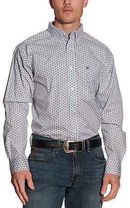 Ariat Men's Lamar White with Blue Geo Print Long Sleeve Stretch Western Shirt