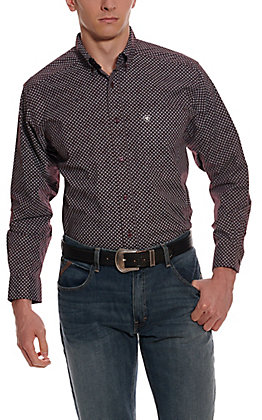 Ariat Men's Largo Maroon with White Diamond Print Long Sleeve Western Shirt