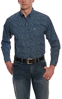 Ariat Men's Longmont Navy with Turquoise Paisley Print Long Sleeve Stretch Western Shirt