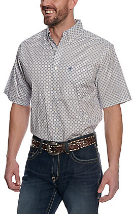 Ariat Men's Lucas White Medallion Print Short Sleeve Stretch Western Shirt