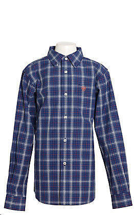 Ariat Boys Gadsen Plaid Twilight Blue Long Sleeve Western Shirt