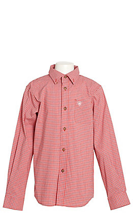 Ariat Boys Red Grover Plaid Postbox Long Sleeve Western Shirt