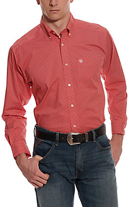 Ariat Men's Nakima Red Geo Print Long Sleeve Western Shirt