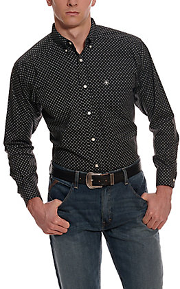 Ariat Men's Orchard Black with White Medallion Print Long Sleeve Western Shirt