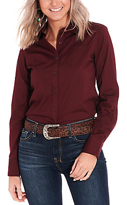 Ariat Women's Kirby Solid Maroon Long Sleeve Stretch Western Shirt
