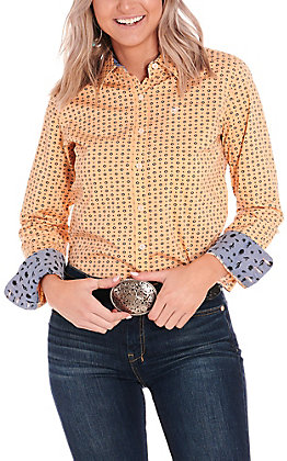 Ariat Women's Kirby Peach with Black Aztec Print Long Sleeve Stretch Western Shirt