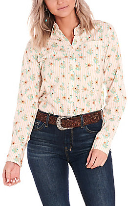 Ariat Women's Kirby Peach and Mint Cactus Print Long Sleeve Stretch Western Shirt