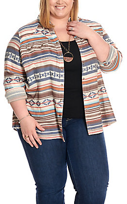 Ariat Women's REAL Blue Serape Long Sleeve Western Shirt - Plus Sizes