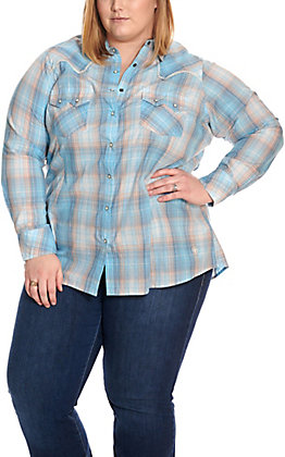 Ariat Women's REAL Sky Blue and Peach Plaid Long Sleeve Western Shirt - Plus Sizes