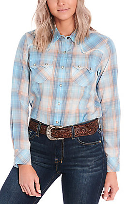 Ariat Women's REAL Sky Blue and Peach Plaid Long Sleeve Western Shirt