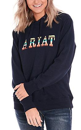 Ariat Women's Real Navy Serape Logo Hoodie