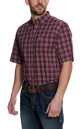 Ariat Pro Series Men's Fallenbrook Maroon with Multi Plaid Short Sleeve Western Shirt