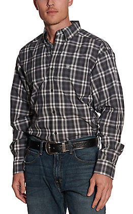 Ariat Pro Series Men's Farmington Grey and White Plaid Long Sleeve Western Shirt