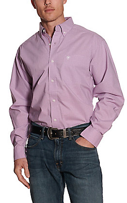 Ariat Pro Series Men's Foothill Light Purple Micro Plaid Long Sleeve Stretch Western Shirt