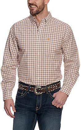 Ariat Pro Series Men's Fresno White, Burgundy and Mustard Plaid Long Sleeve Western Shirt