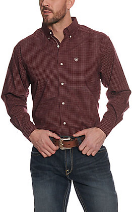 Ariat Pro Series Men's Fullerton Maroon with White Plaid Stretch Long Sleeve Western Shirt