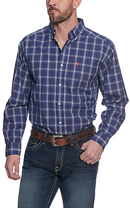 Ariat Pro Series Men's Gadsen Twilight Blue Plaid Long Sleeve Western Shirt