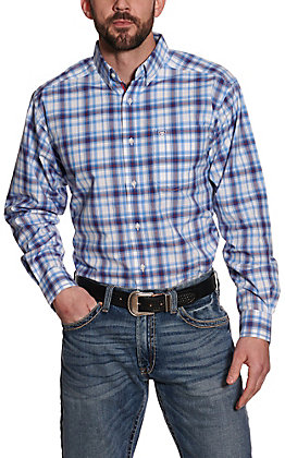 Ariat Pro Series Men's Gilroy Blue and Red Plaid Plaid Long Sleeve Western Shirt