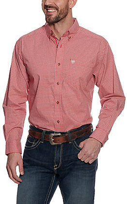 Ariat Pro Series Men's Grover Orange with Mini Plaid Long Sleeve Western Shirt