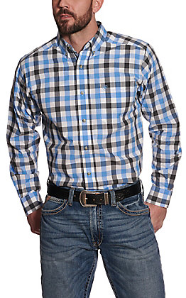 Ariat Pro Series Men's Holbrook Blue and Black Plaid Long Sleeve Western Shirt